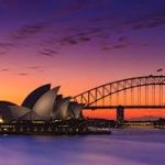 Picture of Sydney Harbour Bridge at sunset - our removalists Gold Coast to Sydney can take you there!
